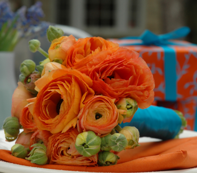 Orange Flower Arrangements For Weddings: Orange Ranunculus Bouquet